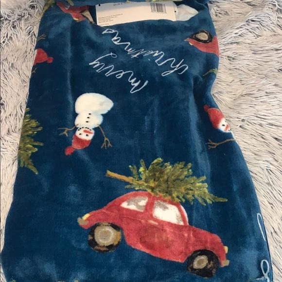 Rae Dunn Merry Christmas Plush Throw Blanket